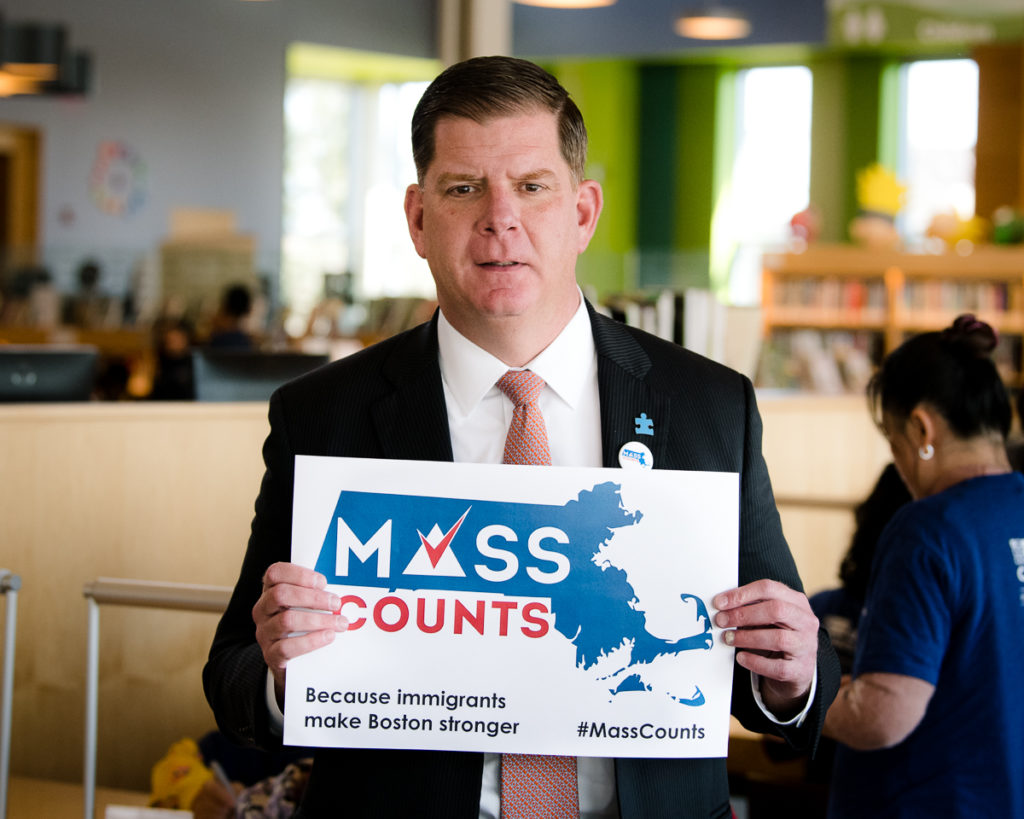 Event photography, immigrant advocacy, census, #masscounts, East Boston Library, Mayor Marty Walsh